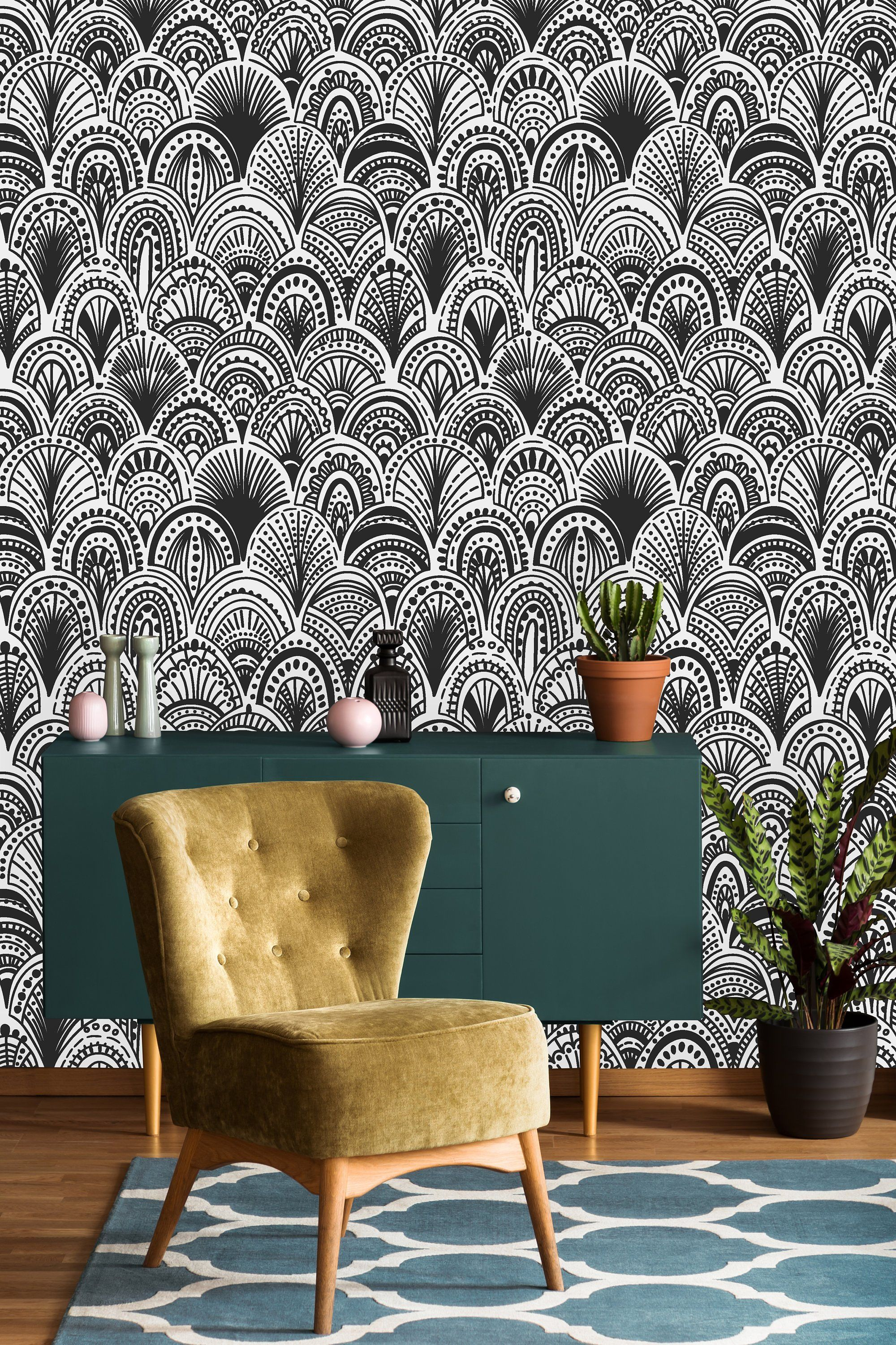 Black And White Bohemian Removable Wallpaper Peel And Stick Wallpaper Wall Mural Self A Removable Wallpaper Peel And Stick Wallpaper Black And White Wallpaper