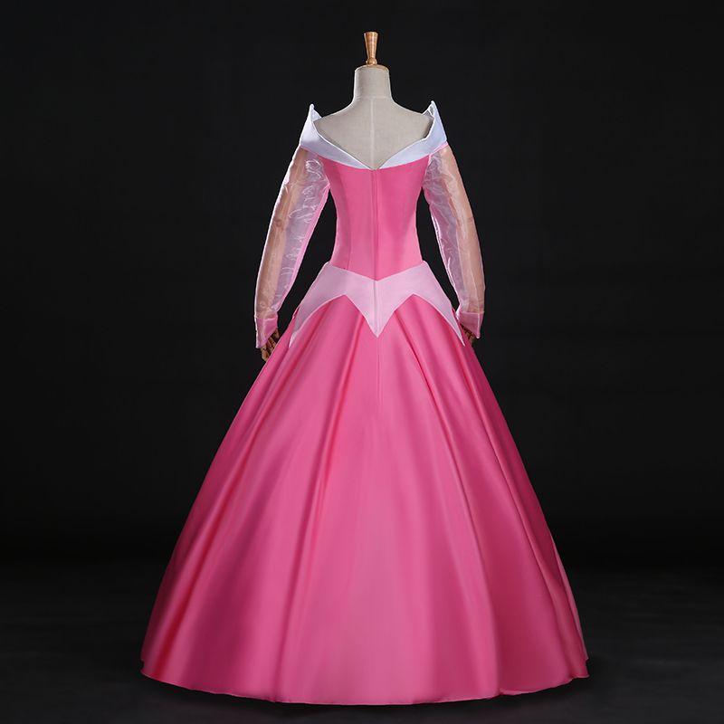 Sleeping Beauty Princess Adult Aurora Dress Cosplay Costume Pink Ball Gown