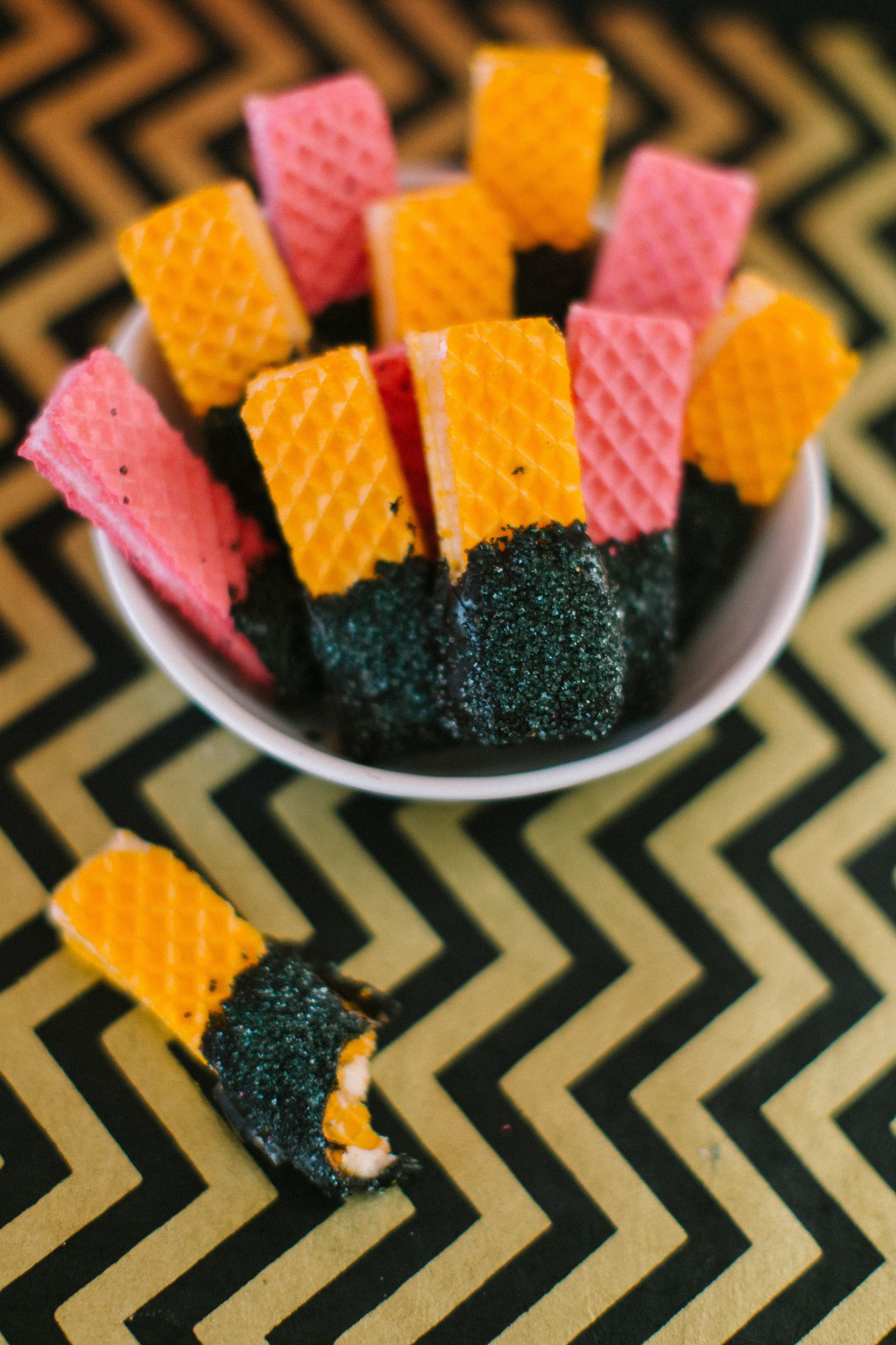 Chocolate dipped wafers - cute for halloween! #Halloween #PartyFood #Dessert.   Photography: Ruth Eileen Photography - rutheileenphotography.com