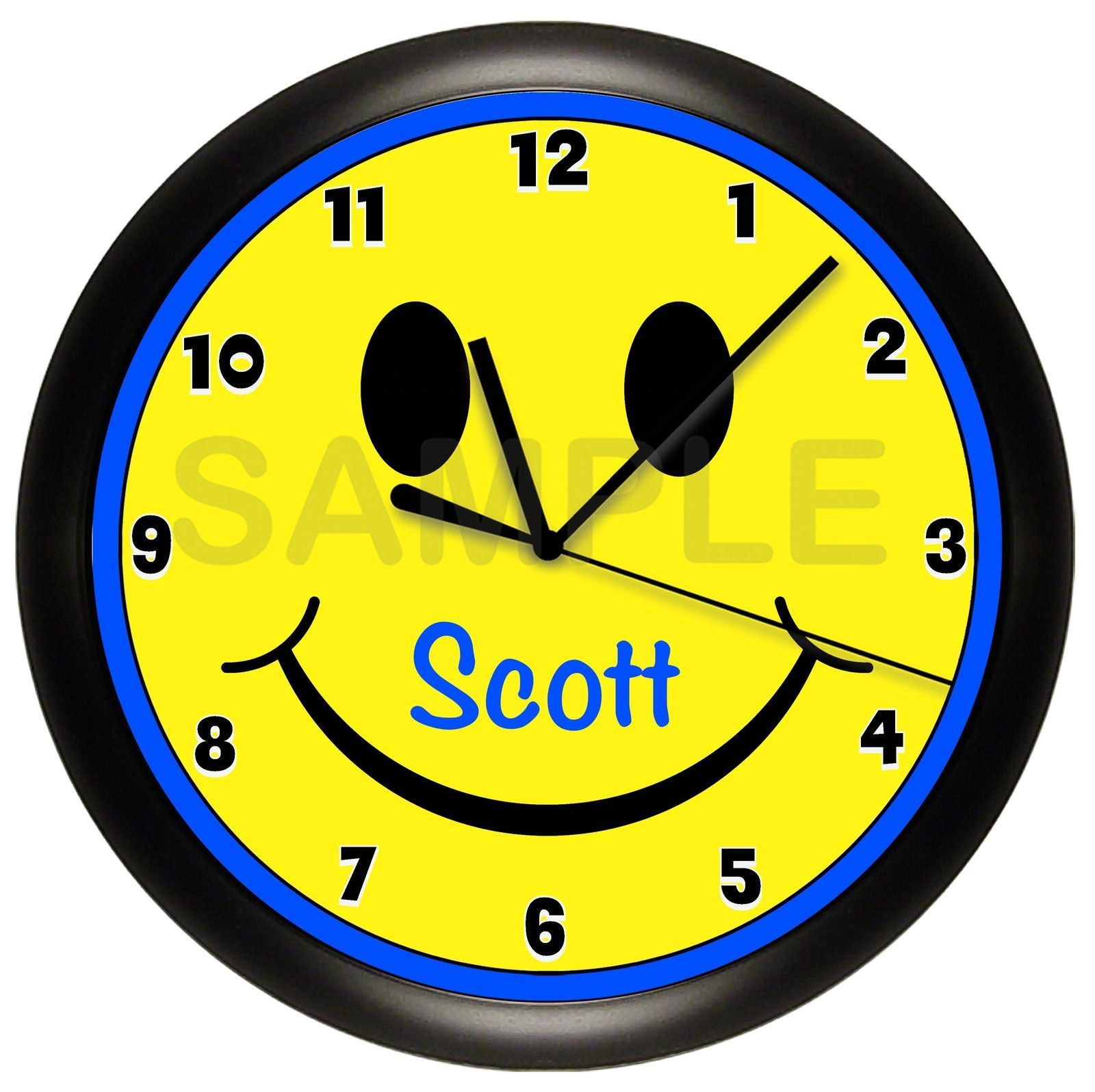 Smiley Face Wall Clock Personalized Gift Wall Decor Emoji Emoticons ...