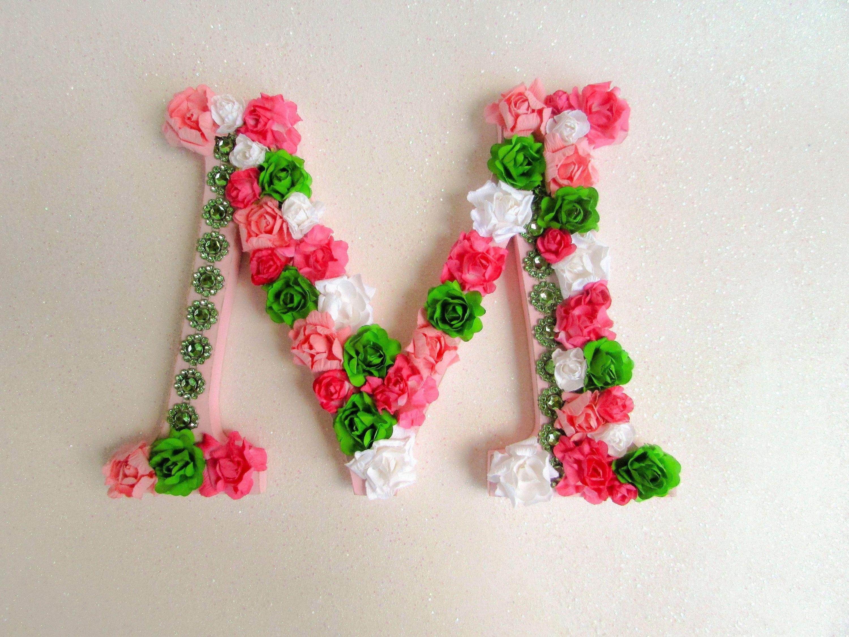 Custom name letter - Floral letter - Flower letter M ...