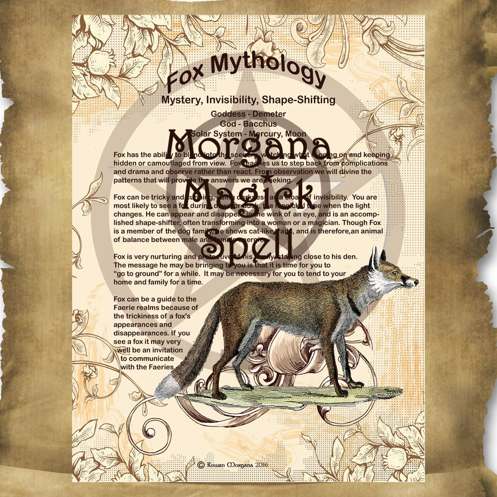 Fox Myths And Correspondences Printable Page For Book Of Etsy Book Of Shadows Halloween Spell Book Wiccan Spell Book