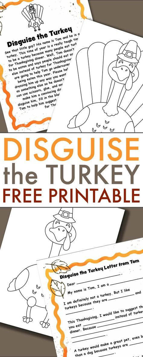 A Turkey In Disguise Project Free Printable Template Turkey