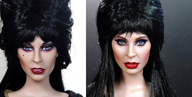 Repintura boneca Elvira a Rainha das Trevas