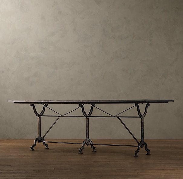 Vedel Industrial Loft Zinc Wood Rectangle Coffee Table: FACTORY ZINC & CAST IRON RECTANGULAR DINING TABLES $1295