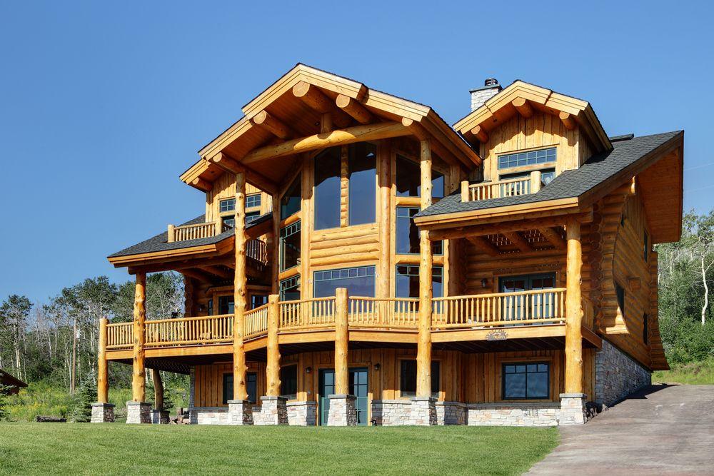 three story log cabin