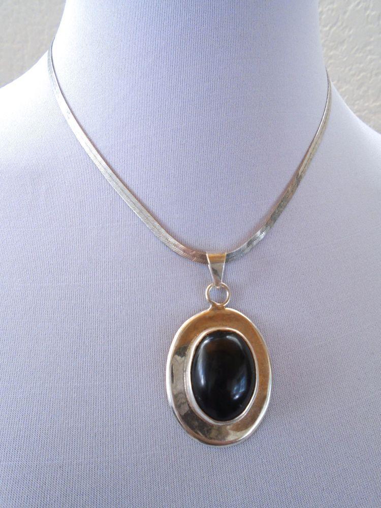 VTG 925 Sterling Silver Black Onyx ATI Mexico Black Cabochon Pendant Necklace #Necklacependant