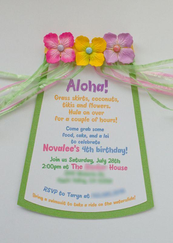 HulaSkirt Invites Hawaiian Invitations Luau Birthday