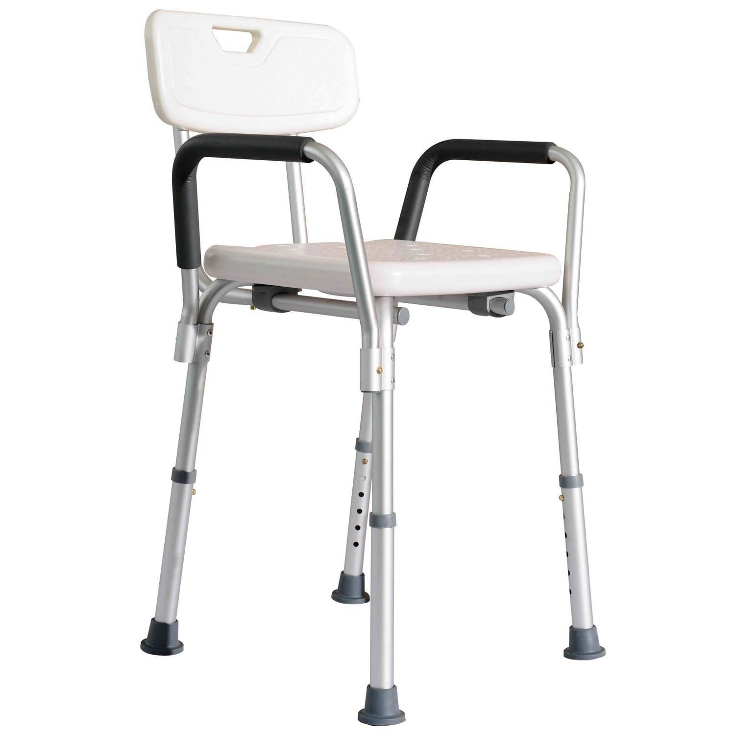 HomCom Adjustable Medical Shower Chair with Arms and Backrest ...