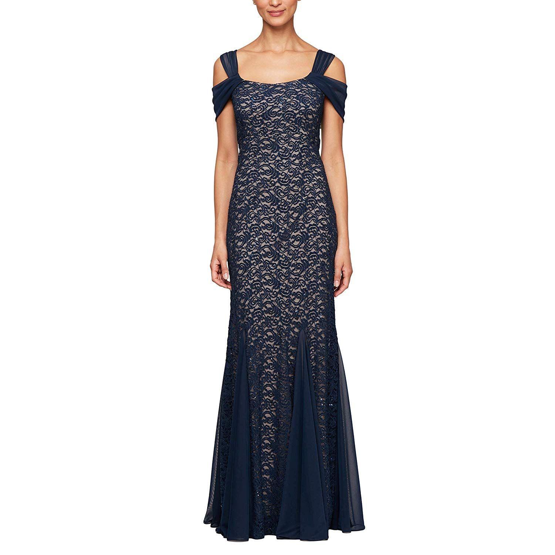Photo of Kleider Formal Long Alex Evenings Langes kaltes Schulterkleid für Frauen (zierliche und normale Größen)