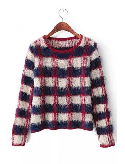 Comfortable Mohair Plaid Long Sleeve Pullover Sweet Knit Sweater