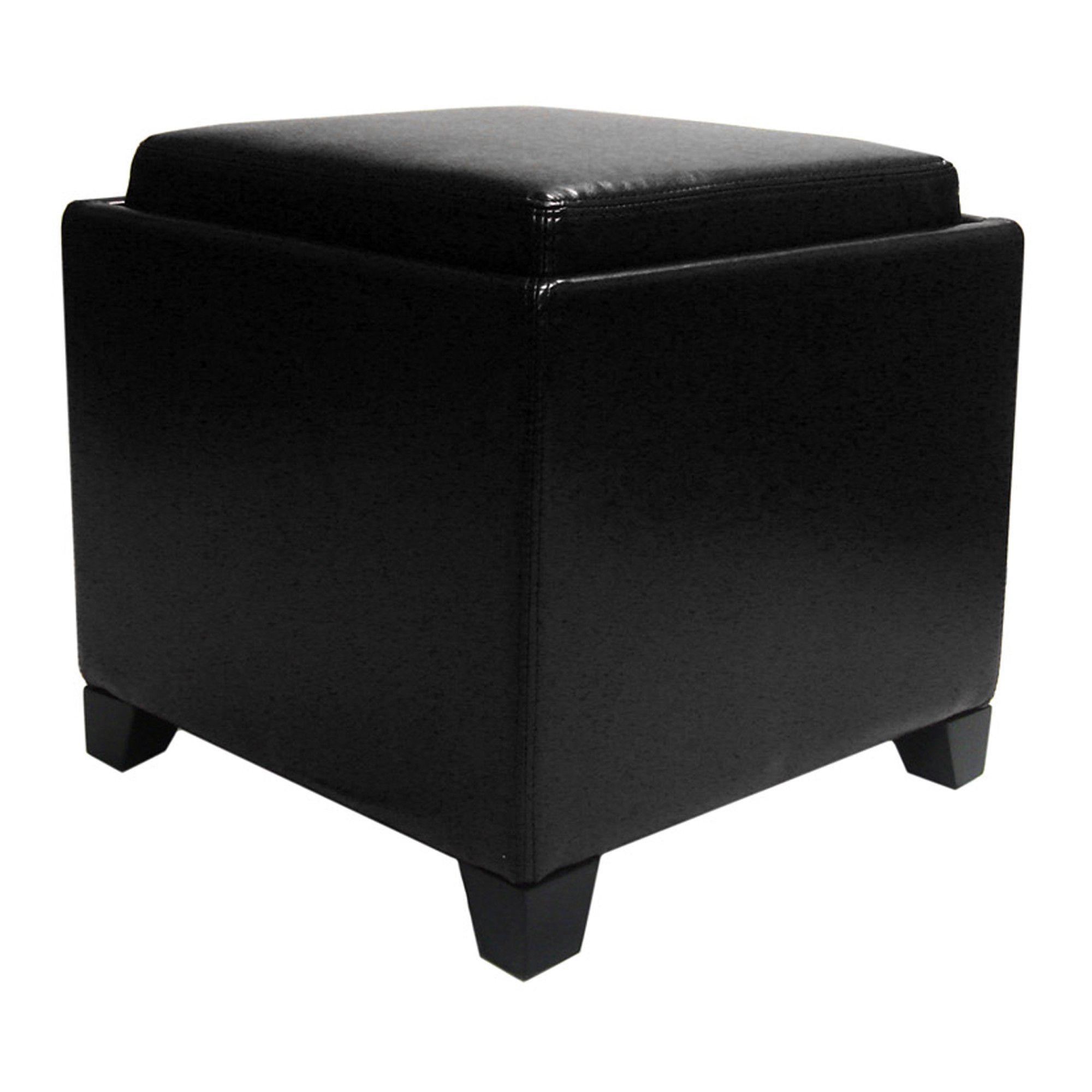 Rainbow Contemporary Storage Ottoman With Tray In Black Bonded