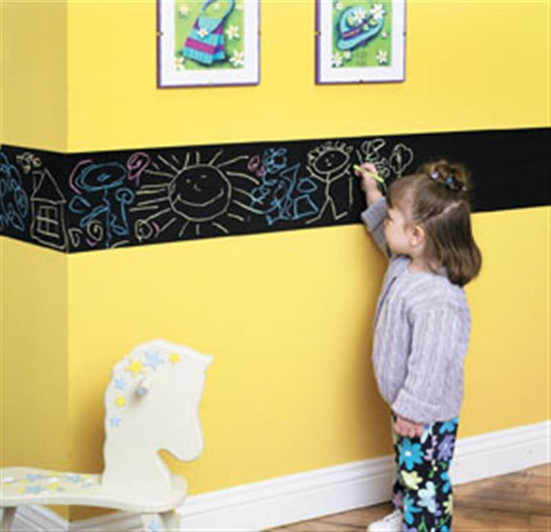 Chalkboard paint strip--you CAN color on the walls sweetie! Create A ...