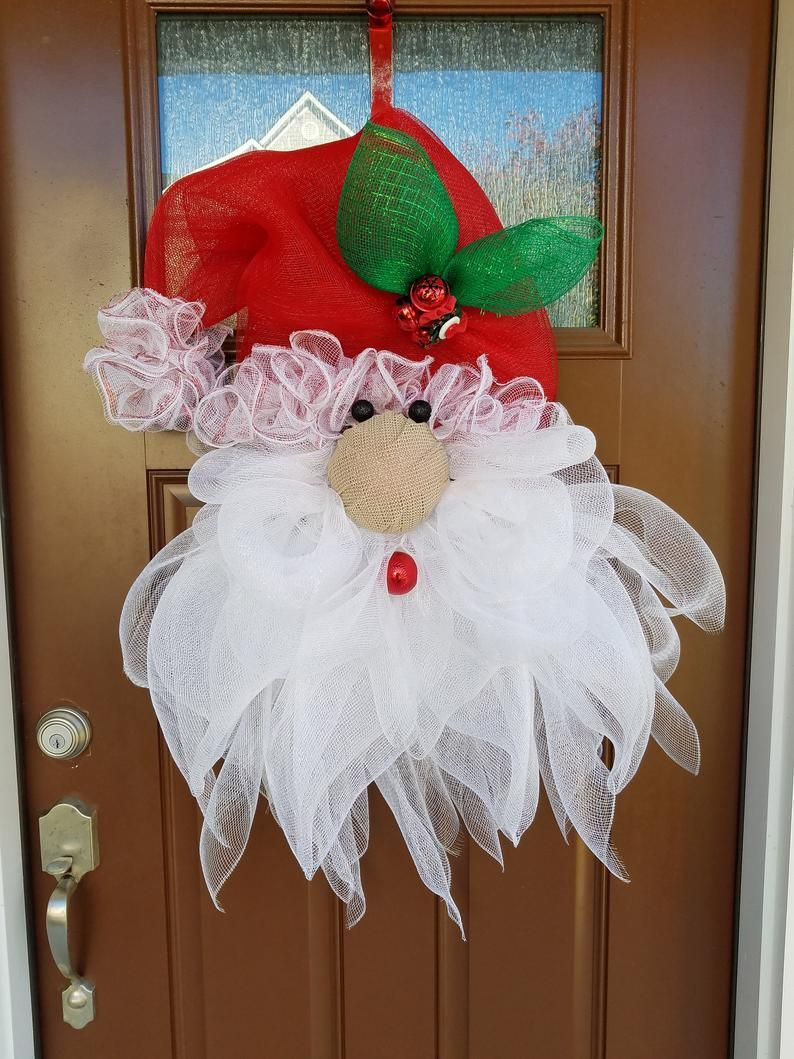TUTORIAL for Santa Claus wreath, DIY craft projects Christmas Holiday Wreath easy tutorial large wreath, ChantybyChanty