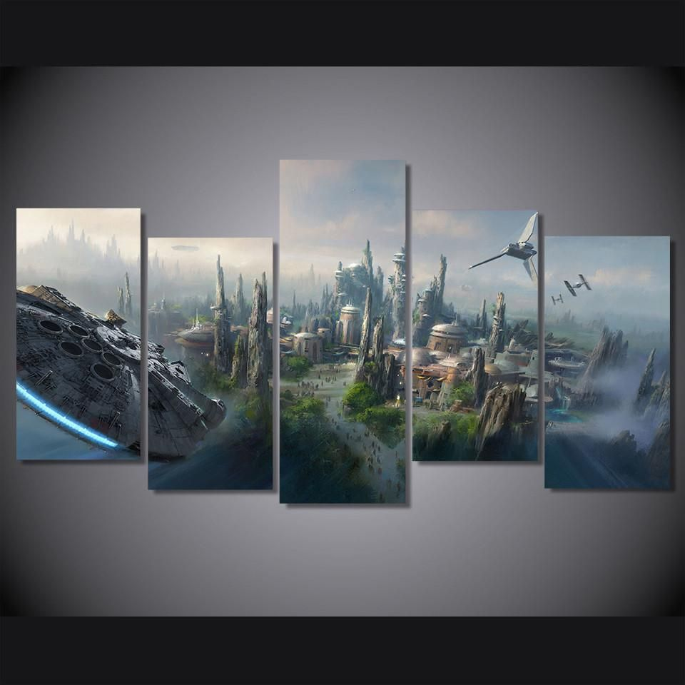 Hd Printed Star Wars Millennium Falcon Large 5 Panel Canvas Wall Art We Have 2 Options For Thi Star Wars Wall Art Canvas Picture Walls Star Wars Themed Bedroom