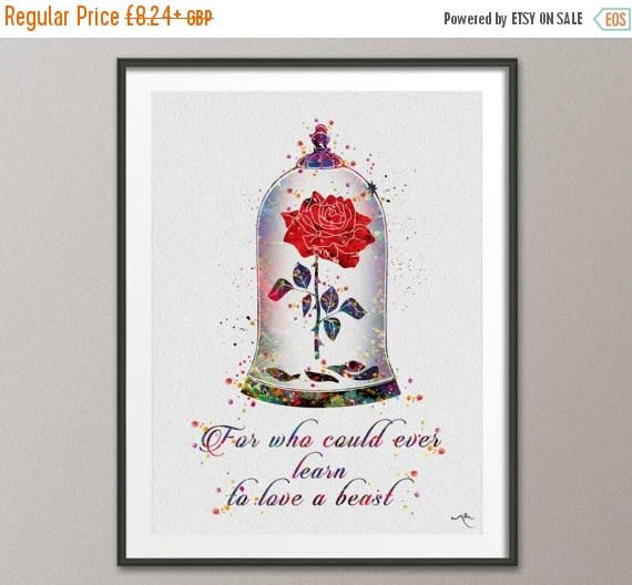 Cursed Rose Quote 2 Enchanted Rose Watercolor Print Beauty