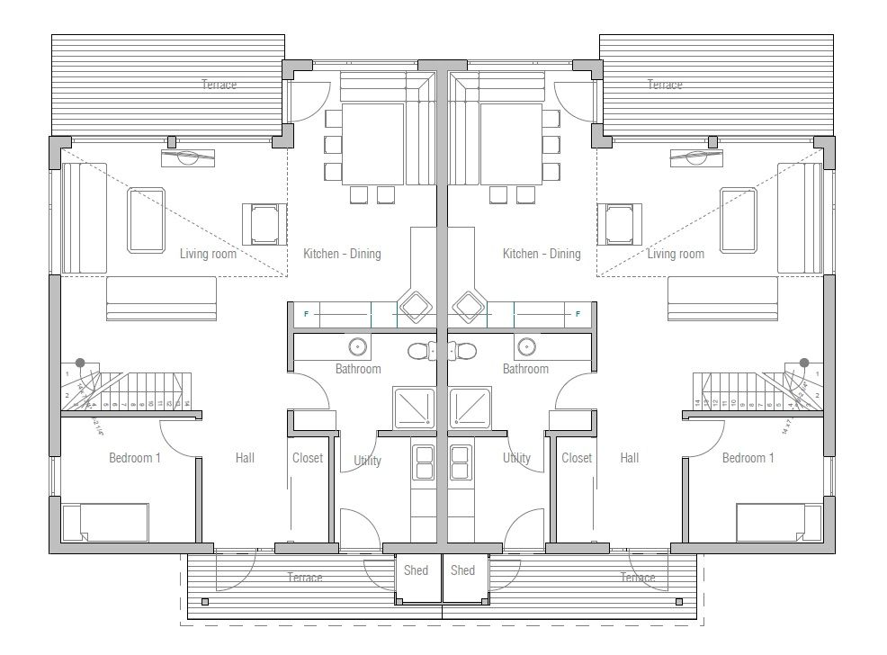 duplex-house_10_house_plan_009CH_D.jpg | Studio | Pinterest | Semi ...