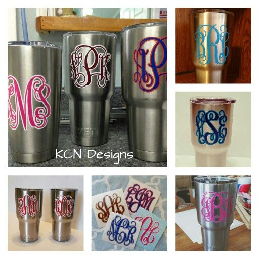Yeti Monogram Decals Cricut Projects Pinterest Monogram - Vinyl decals for cupsbestname decals for cups ideas on pinterest boat name