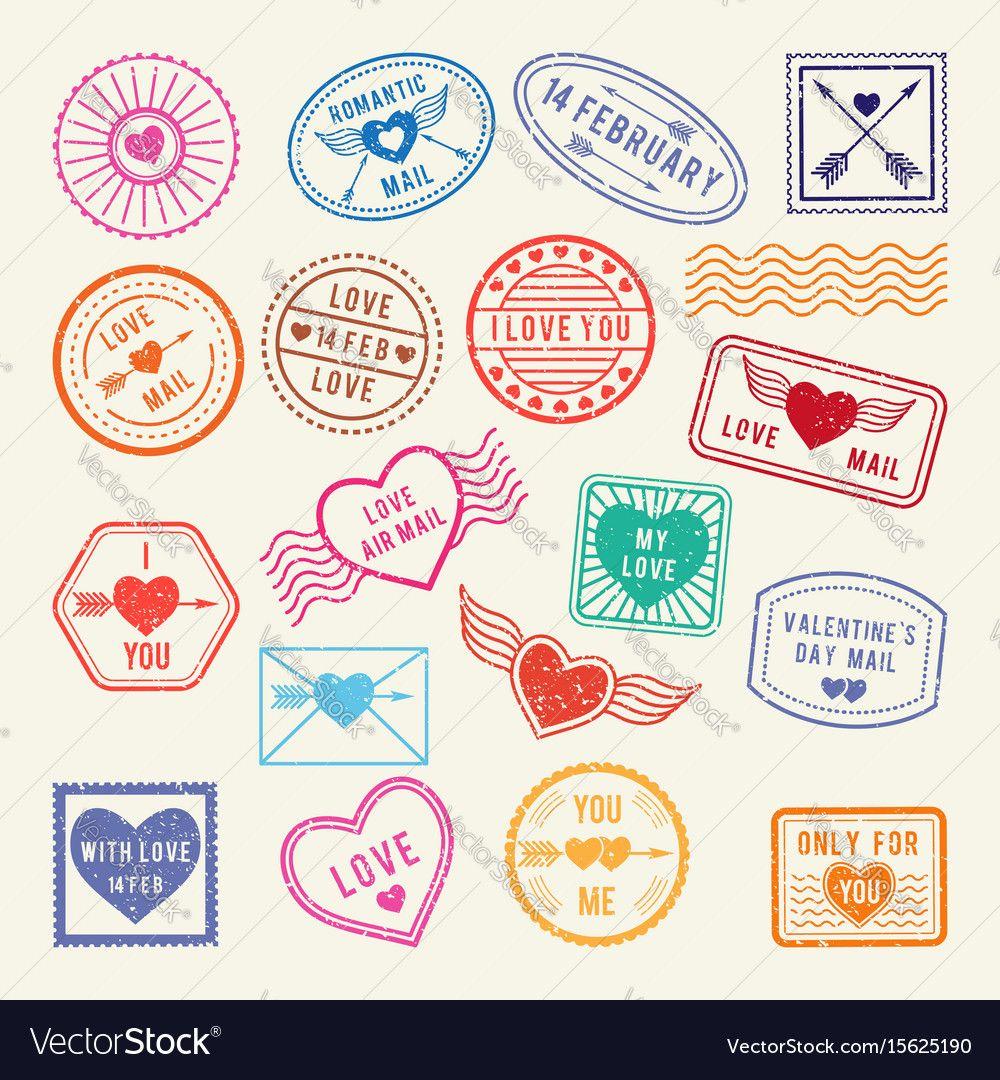 Vintage Romantic Postal Stamps Love Vector Image On Vectorstock Postage Stamp Design Postal Stamps Stamp Design
