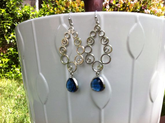 Dark Blue Crystal Silver Drop Earrings Dangle by MiaCocoDesigns, $25.00