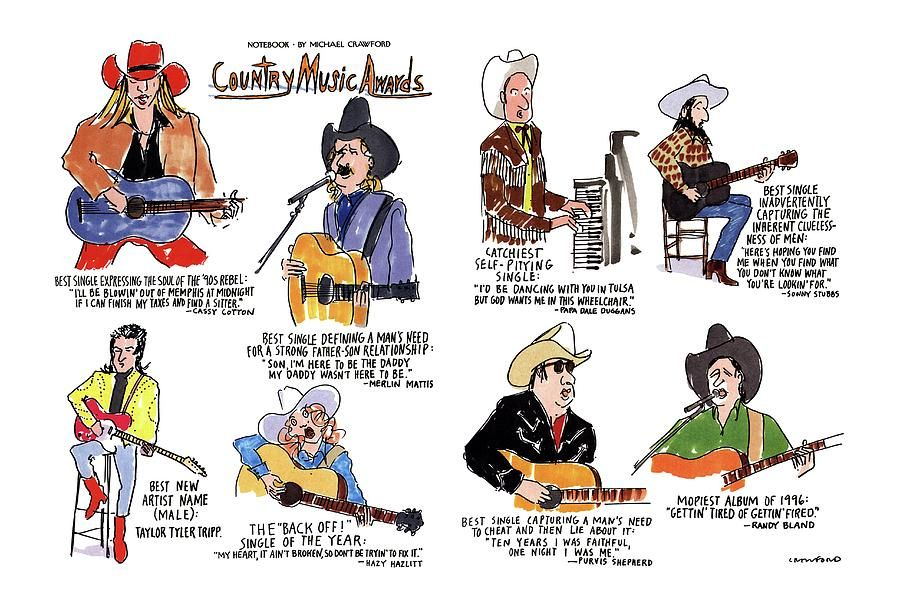 Drawing - Country Music Awards by Michael Crawford #affiliate , #sponsored, #Affiliate, #Music, #Crawford, #Michael, #Country