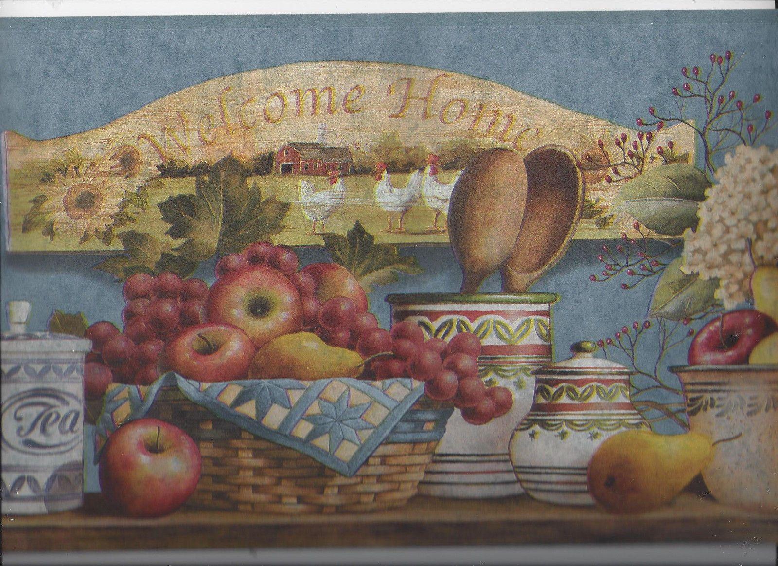 KITCHEN BASKET FRUIT FLOWERS POTTERY WALLPAPER BORDER COUNTRY HOME APPLE  PEAR   EBay