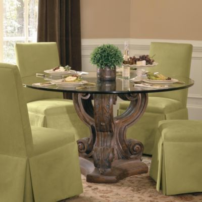 Triple Acanthus Base With 54 Inch Diam. Glass Top. Round Glass Table ...