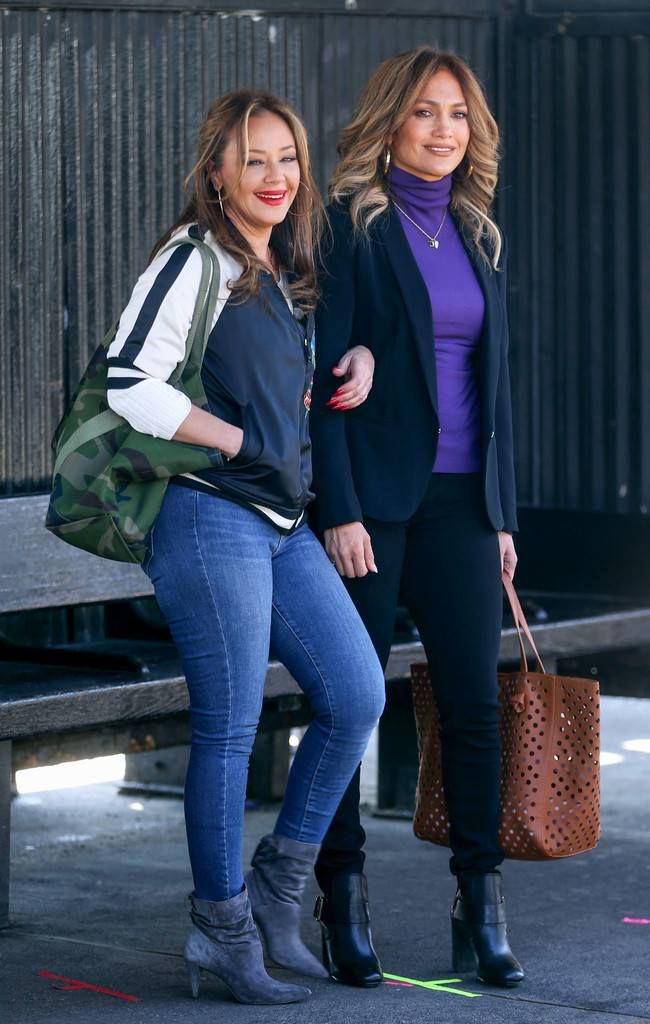 Jennifer lopez with leah remini on set of second act in nyc
