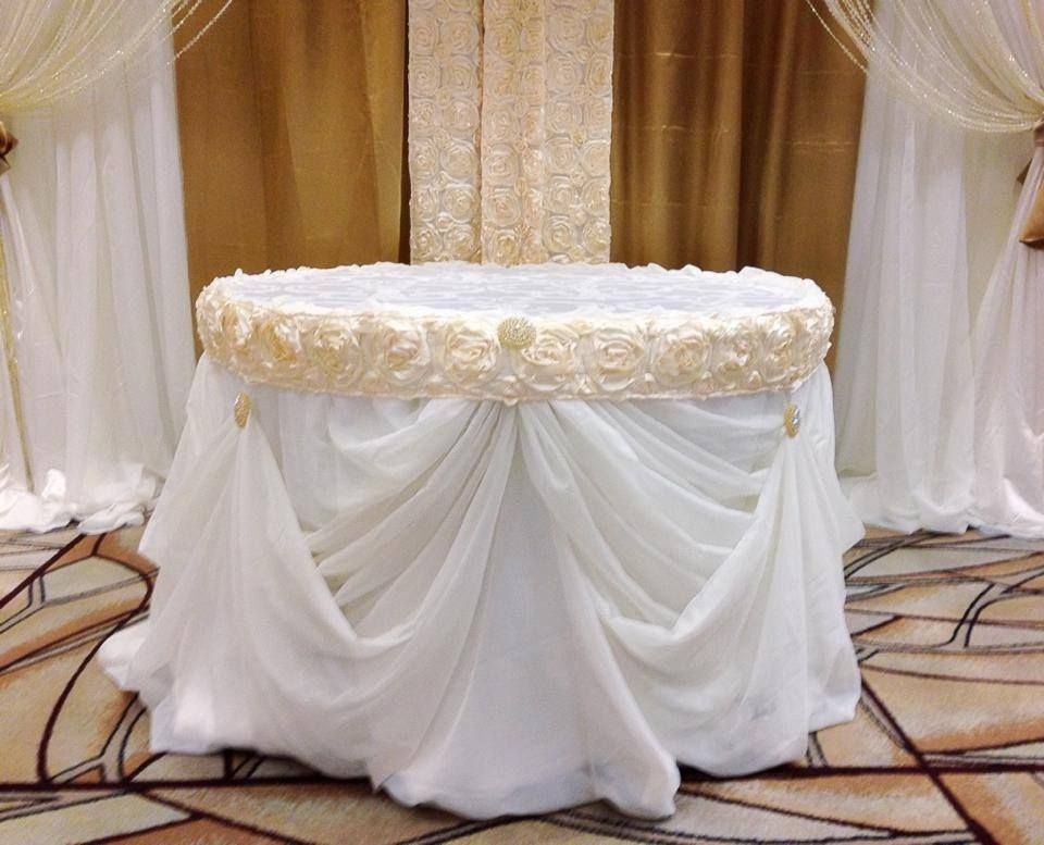 Cinderella Cake Table Skirt Blush Champagne Gold Wedding