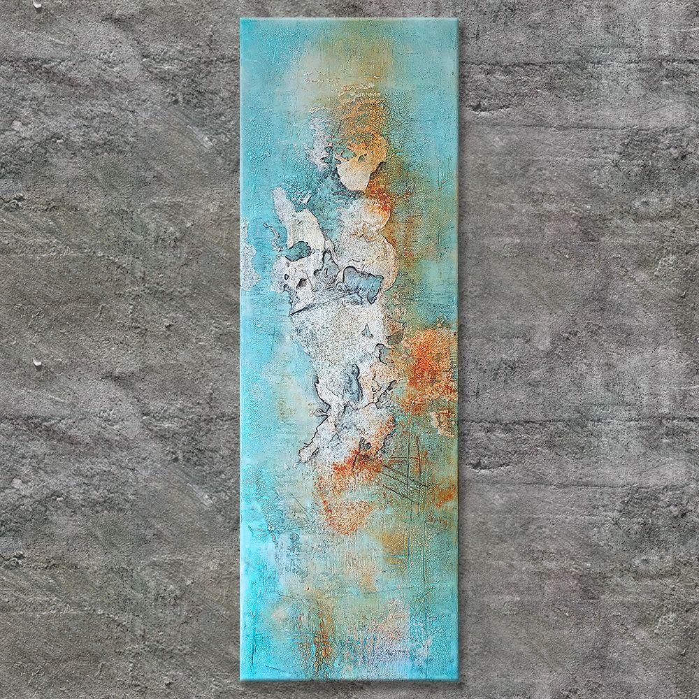 Annette Freymuth Nettis Art Strukturbild Spachtelmasse Sand Rostrot Trkis Braun Pl