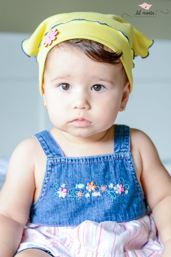 f0cafe4b02a Toddler baby girl summer hat in yellow with pink flower button