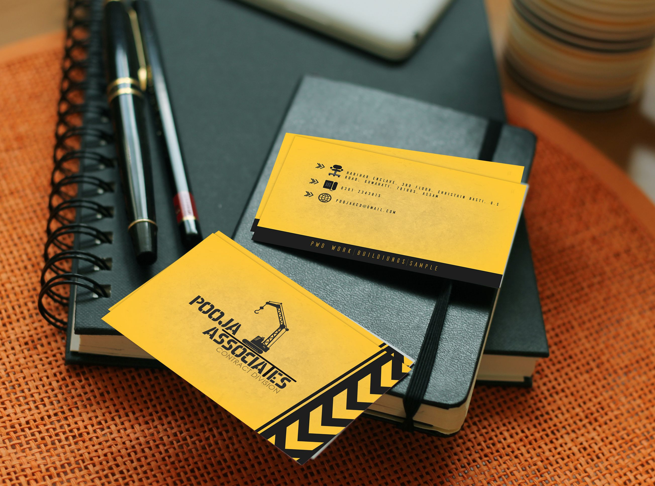 Visiting card design for a construction company. yellow and black ...