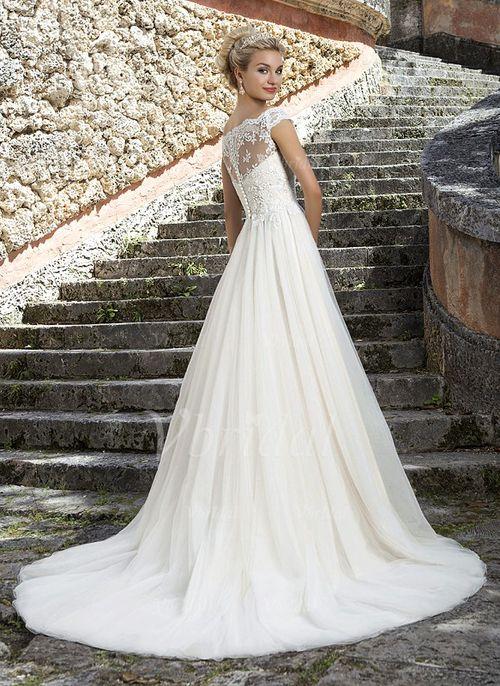 9c95af36a101 A-linjeformat Off-shoulder Ringning Court släp Tyll Spetsar Bröllopsklänning  (0025091368) - Vbridal