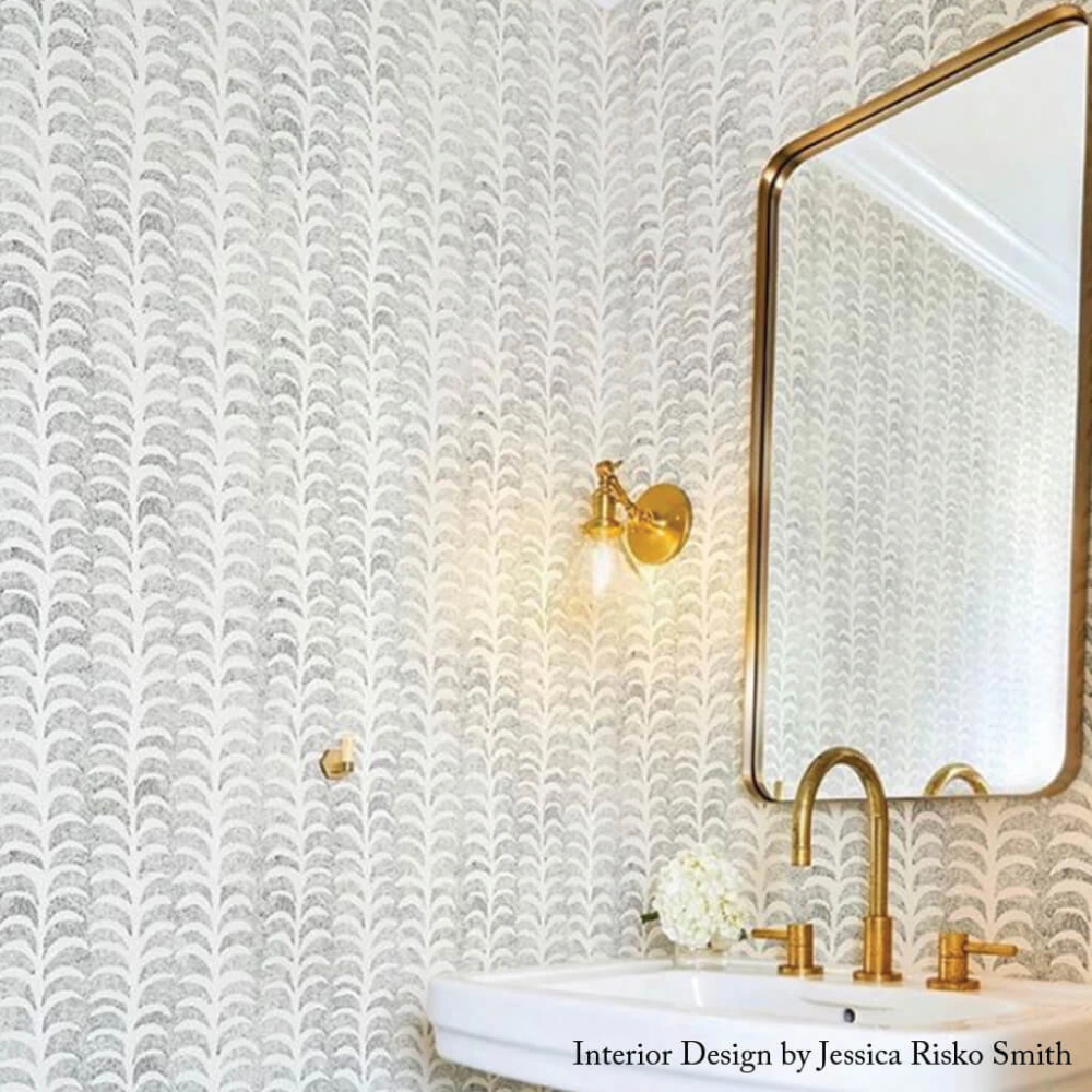 Dotted Palm Wallpaper in Ivory / Black in 2020 Palm
