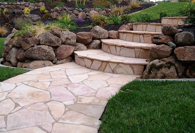 Entry With Flagstone Flagstone Entry Stairs With Moss Rock Landscape Stairs Outdoor Walkway Outdoor Landscape Lighting