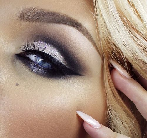 Deep sultry smokey eye for blue eyes and blonde hair