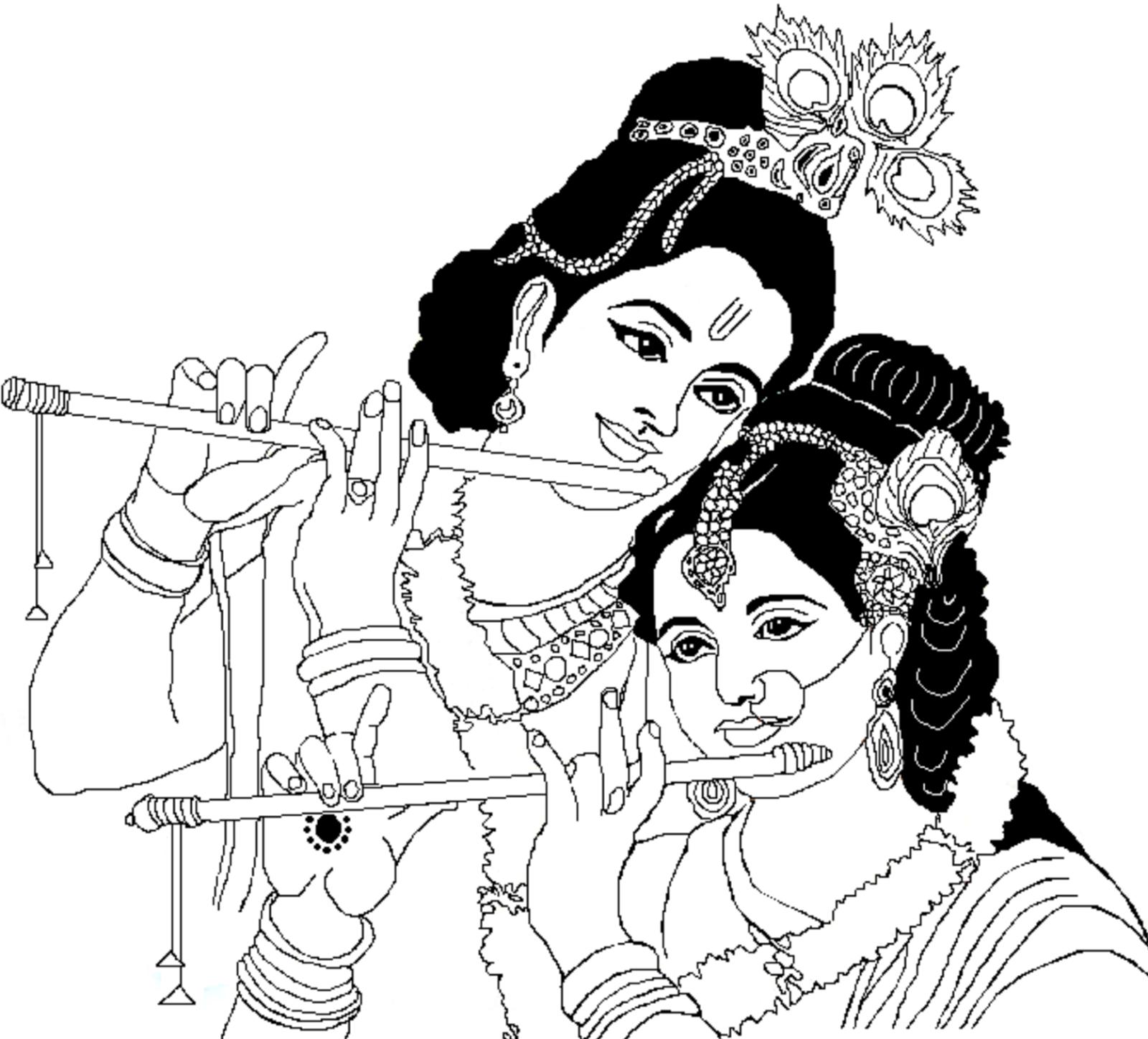 Lord radha krishna coloring drawing free wallpaper in 2019