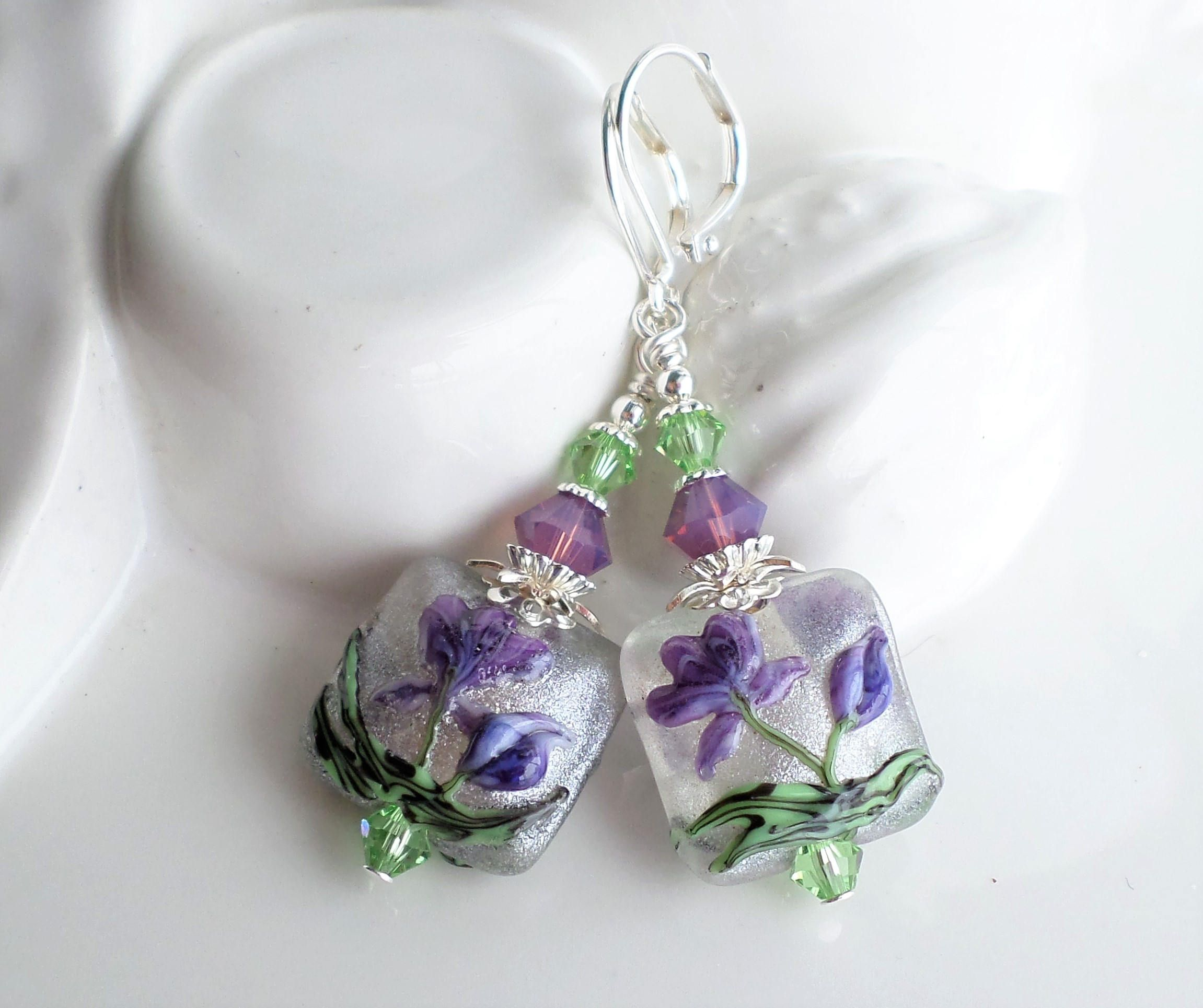 beauties for product and sparkling handmade pink women jewelry green spring swarovski earrings flower crystal purple pewter