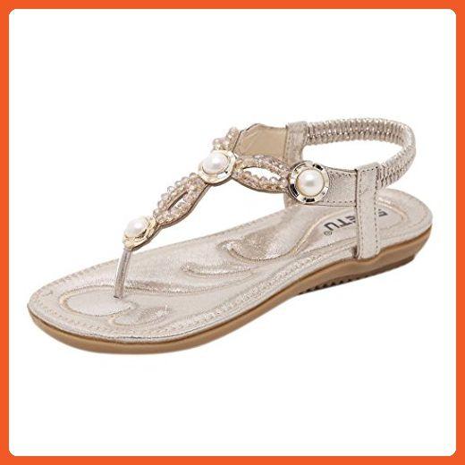 afbfe4d2170cd Inkach Girls Rhinestone Flip Flops Women Summer Large Size Casual Flat  Sandals Beach Shoes (35