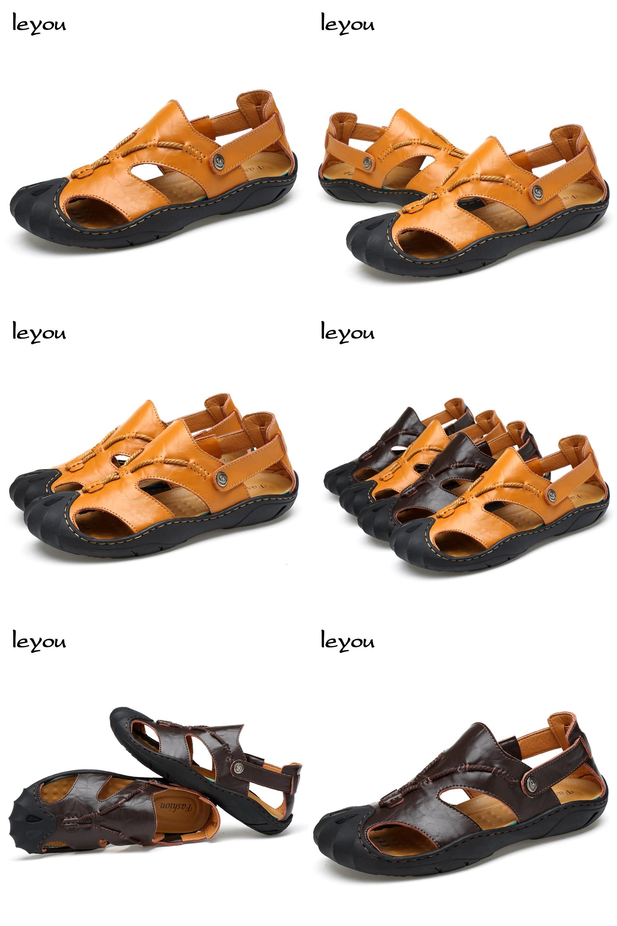 dba1a1592f41bd  Visit to Buy  Hot Sale Men New Real Leather Sandal Shoes Closed Toe Comfy