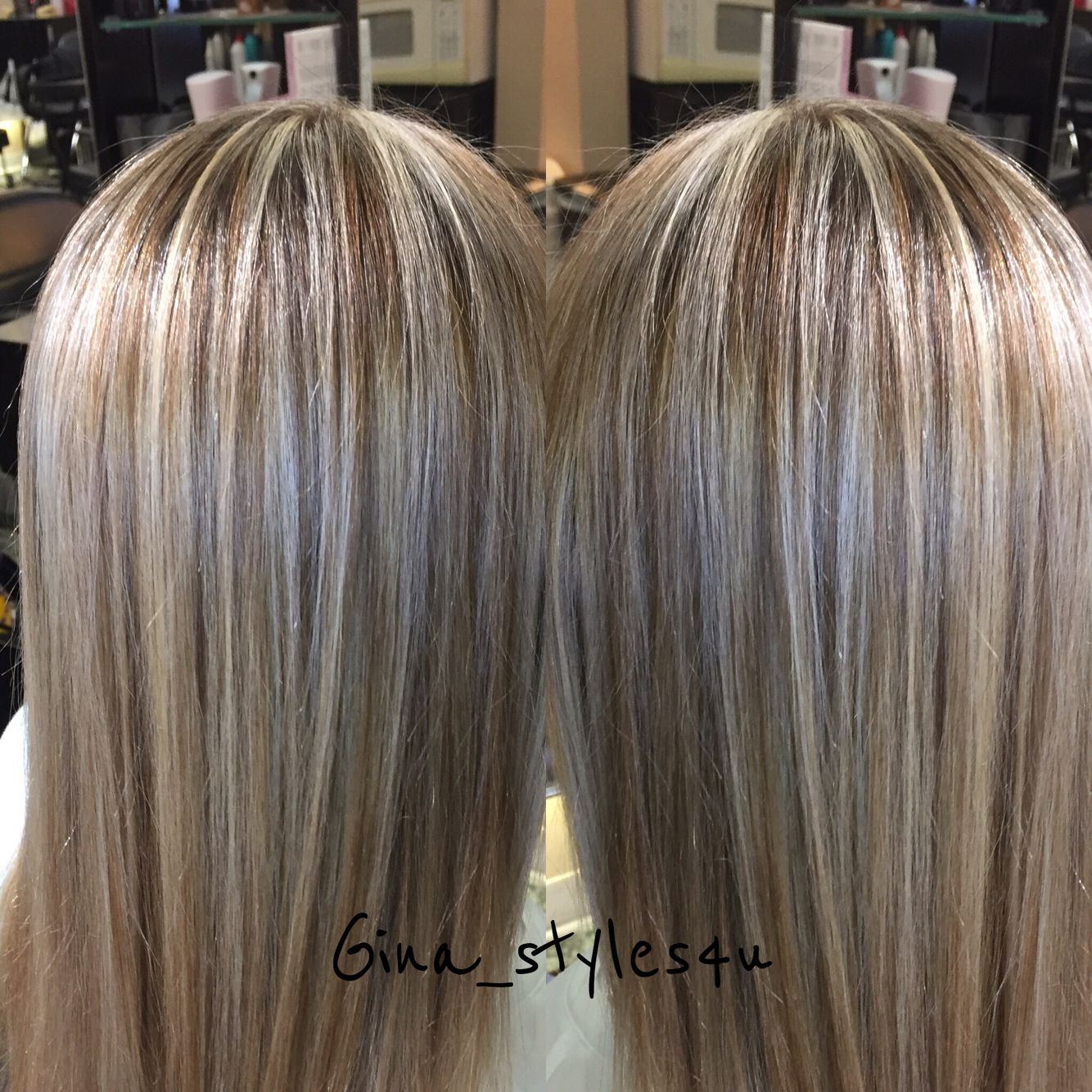 Blonde Highlights And Chocolate Golden Lowlights Soft Shineyhair