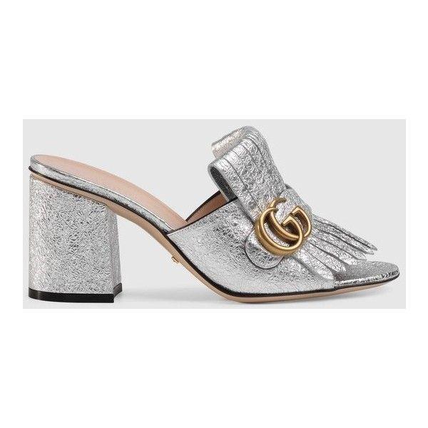 Gucci Metallic Leather Mid-Heel Slide