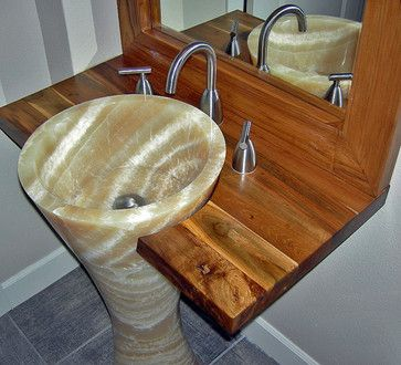 Unique Pedestal Sinks Onyx Sink Reclaimed Teak Vanity Top Mirror Contemporary Bathroom