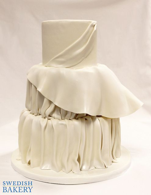 Ruched Peplum Draped Fondant Wedding Cake