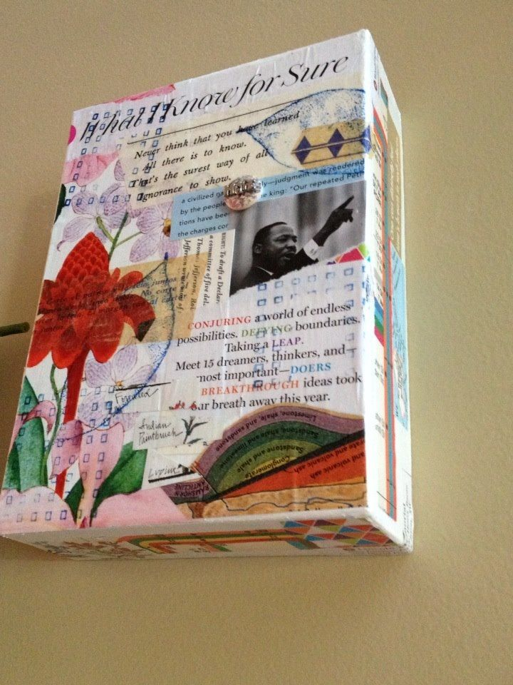 """""""Mixed Media-Journal Box""""  How funny to see this...I created one back in 07' and still have it. It was my vision board on the outside that contained artifacts on the inside!"""