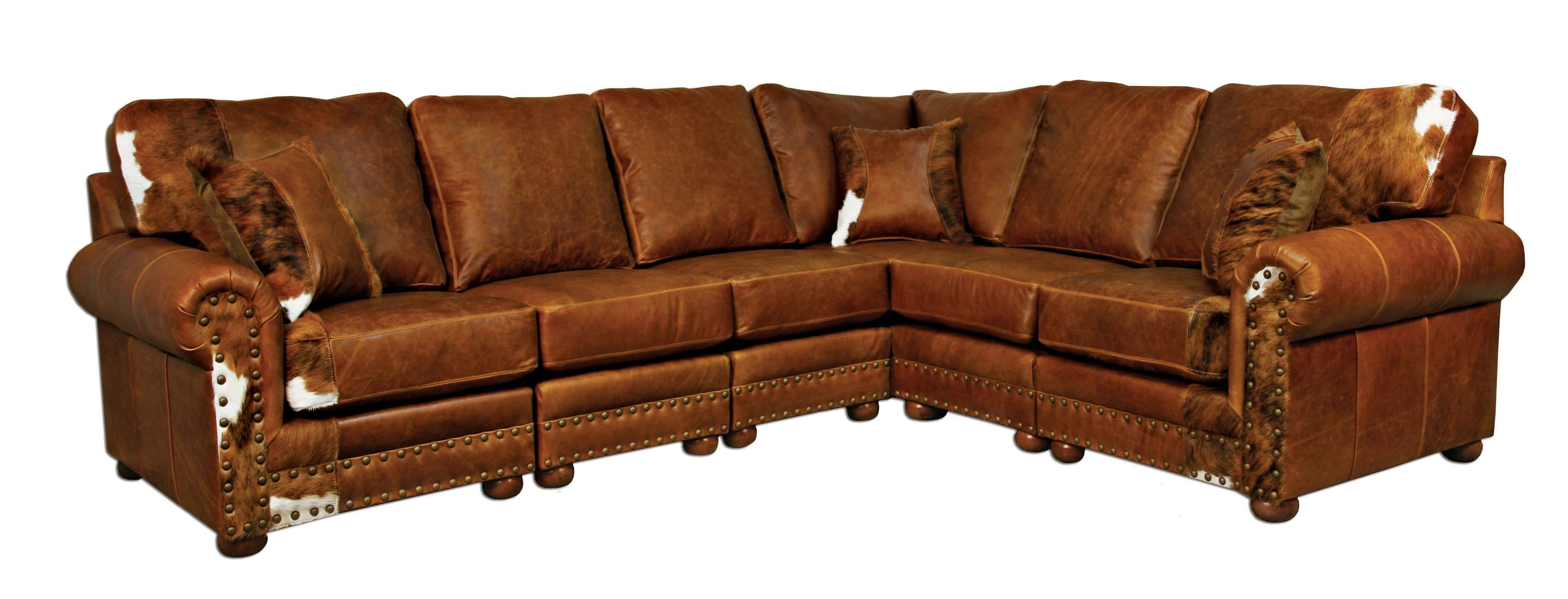Outlaw Sectional Sofa In Weston Pecan Hair On Hide