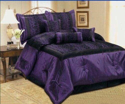 Purple Zebra Print Bedding Faux Silk Black Purple Comforter Set