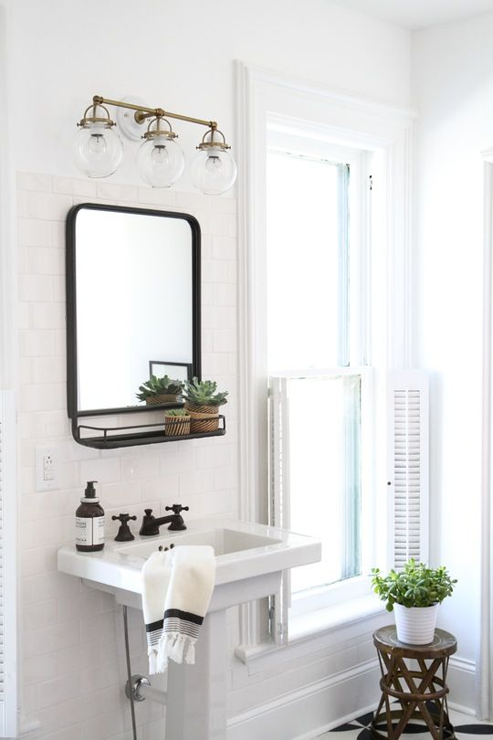 One Bathroom Three Styles 80s Bohemian Dream Featuring The Mist Triple Sconce From Rejuvenation Via Apartment Therapy