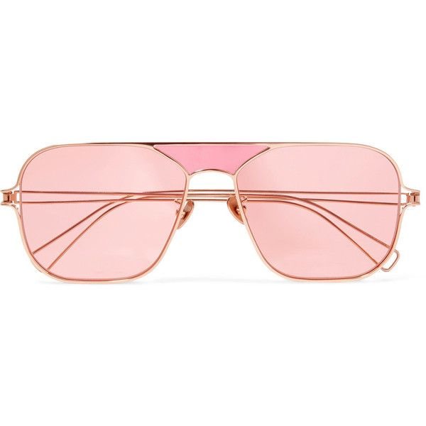 d2092311f8 Rejina Pyo + PROJEKT PRODUKT aviator-style rose gold-tone sunglasses (£215)  ❤ liked on Polyvore featuring accessories