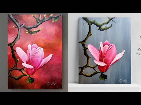 Step By Step Acrylic Painting On Canvas For Beginners Magnolia Painting Art Ideas How To Paint In 2020 Flower Painting Canvas Art Painting Acrylic Painting Canvas